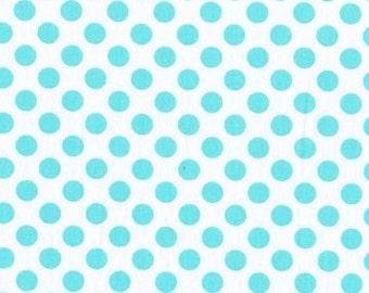 Aqua Polka Dot Fabric/Michael Miller Ta Dots/Cotton Sewing Material/Quilting, Clothing Yardage/Fat Quarter, Half, By The Yard