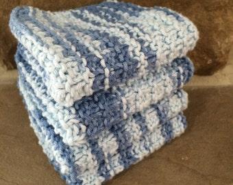 Hand Knit Cotton Dish Cloths / Face Cloths Set of 4 / Spa Cloths