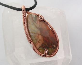 Wire Wrapped Pendant Jasper Pendant Jasper Necklace Copper Jewelry Earthy Natural Jewelry
