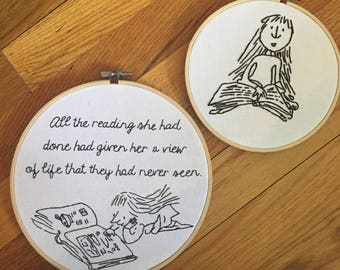 Matilda Roald Dahl Embroidery Art, Children's Book Illustration Art, Children's Room Decor,  Gifts for Bookworms, Book Themed Wall Art