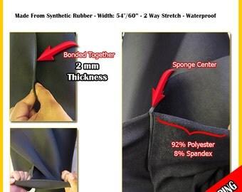 "BIGZFABRIC® Neoprene Bonded Sponge Waterproof Wetsuit Fabric - BLACK - 54"" Width 2mm Scuba Koozies Pads Heat Insulation Free Shipping"
