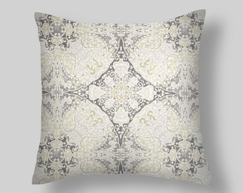 "Beige, grey Pillows ,18"" Pillow Covers, Blue/Citron ,Floral Pillow, Blue Pillows, Decorative Pillow  Decor, Cushion. All Sizes  Euro ,Throw"