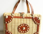 Vintage Wicker and Leather Handbag, Metal Grommets, Handmade in British Hong Kong, Circa 1960's