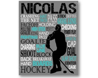 Hockey Typography Art Print, Boy's Room Art, Choose Any Colors, Personalized Gift for Father's day or NHL, Hockey Team or Coach gift