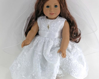 Handmade Doll Clothes for American Girl - Holy First Communion Dress, Cross Necklace, Veil, Pantalettes- Flowers Sequins- Shoes,Socks Option