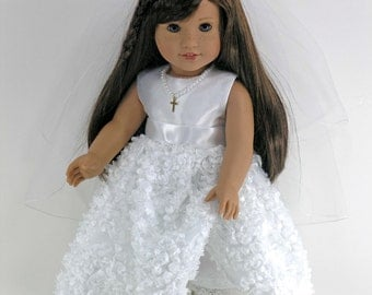 Handmade Clothes for American Girl - First Communion Doll Dress, Cross Necklace, Veil, Pantalettes - Satin Petals - Shoes and Socks Option