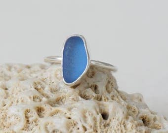 Cornflower Blue Sea Glass Stacking Ring, Size 7 1/4 - Genuine Sea Glass, Natural Sea Glass - Stacking Jewelry, Stacker Ring