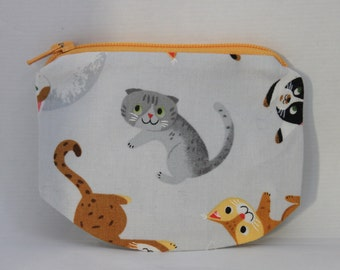 Cat Zipper pouch, coin purse made to order