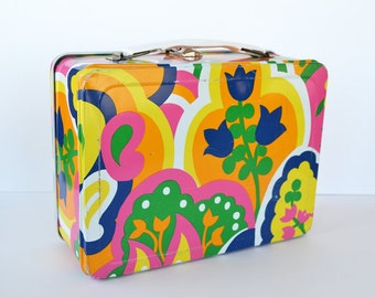 Vintage Floral Lunchbox | Hippie Flower Child | Mod Flowers | Tulips | Metal Lunchbox | 1970's Collectible Lunchbox