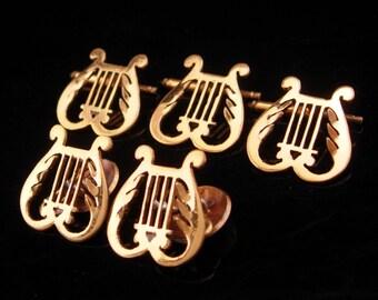 IRELAND cufflinks victorian harp button studs vintage Irish wedding set gold wedding tuxedo cufflinks music cufflinks