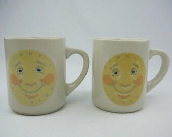 Vintage Denny's Till Dawn moon coffee mugs set of 2