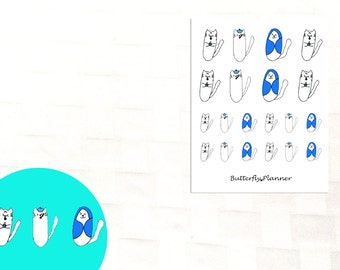 Sick Tiggero Doodle Stickers, Set of 20 Planner Stickers, Ill, Under the Weather, Fever Tracker