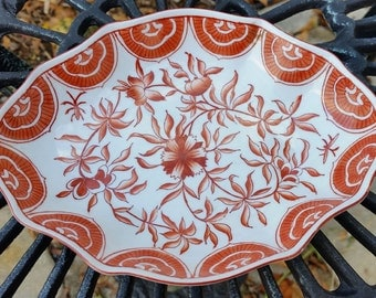 Vintage RARE Red-and-White Chinese Oval Porcelain Decorative Bowl