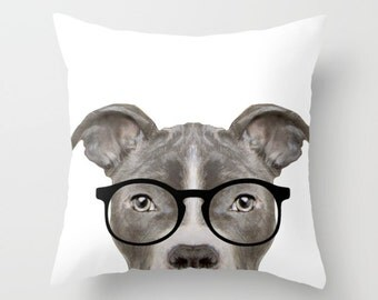 Pit bull with glasses Pillow cover Original painting print on both sides, home decor, housewares