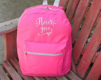 Never Give Up Backpack, Pink and Grey