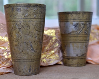 Lassi cup or vase, vintage middle eastern Indian / arabic style old vintage Indian drinking cup with etching tall tumbler style