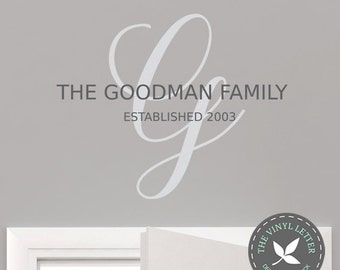 Custom Family Last Name Monogram Vinyl Wall Decor Decal Sticker Personalized