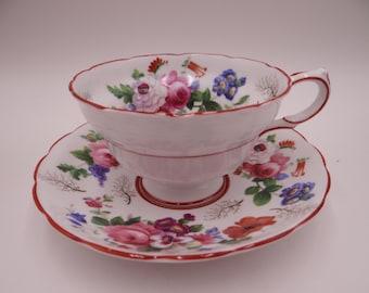 1930s Copelands Grosvenor English Bone China Teacup Floral English Teacup and Saucer English Tea cup