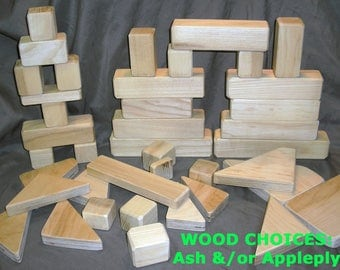 Wooden Blocks for Kids (100 piece set)  -  Natural, Unpainted Blocks