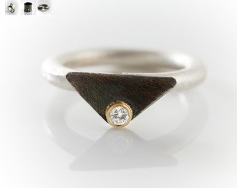 Diamond silver and   14k gold ring  , artis jewelry  ,modern ring, orbanic , free shipping