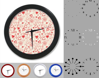 Mixed Red Heart Wall Clock, Love & Kiss Design, Valentine's Day, Customizable Clock, Round Wall Clock, Your Choice Clock Face or Clock Dial