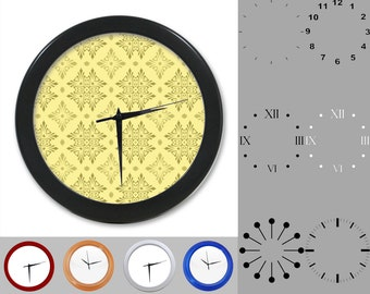 Geometric Wall Clock, Tribal Design, Tan Artistic Graphic Design, Customizable Clock, Round Wall Clock, Your Choice Clock Face or Clock Dial