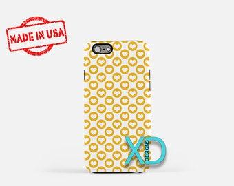 Yellow Heart Phone Case, Yellow Heart iPhone Case, Stencil iPhone 7 Case, White, Stencil iPhone 6 Case, Yellow Heart Tough Case, Clear Case