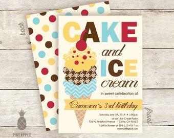 Vintage Inspired Cake & Ice Cream Birthday Party Invitations