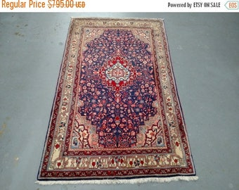 SPRING SALE 1950s Hand-Knotted Semi-Antique Jozan Sarouk Persian Rug (2259)