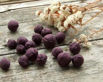 Soft fabric beads, Set 18 beads, Natural silk fabric and wool, Dark purple, Textile bead, Soft jewelry supply, Jewelry making, Cloth Beads