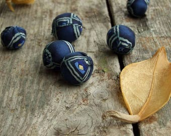 Silk fabric beads, Set of 6 beads, Silk and wool, Eco friendly, Dark blue color, Textile bead, Jewelry supply, Jewelry making, Cloth Beads
