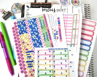 "60%CLEARANCE! May2017 Monthly CALENDAR Pages Kit, ""Live Simply"" May kit fits Erin Condren Life Planners, Calendar Stickers fits EC"