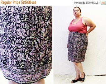 CLEARANCE - FINAL SALE - Plus Size - Vintage Printed Crepe Faux Sarong Skirt (Size 24)