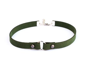 Olive green vegan suede leather choker