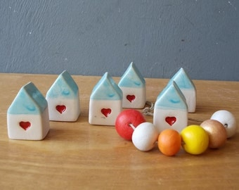 Small HOUSE with Heart / Small Ceramic House with Blue Roof / Rustic Beach Decor / Birthday favor / Wedding favor / Home Decor
