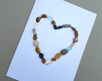 Heart Card, Anniversary Card, Pebble Heart, Beach Card, Pebble Card, Arty Card, Greetings Card, Pebbles, Seastones, Love,
