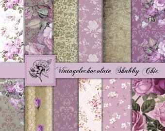 ON SALE Digital Paper, Floral Lavender Paper, Lilac Lace Digital Paper, Lavender Digital Paper, Lace and Rose Digital. No. P125.Va