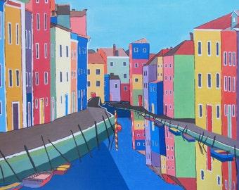 Venice Italy Print, Italy Print, Street Art, Burano Print, Italy Poster, Boat Print, Venice Canal, Houses Print, Venice Italy Painting, A3