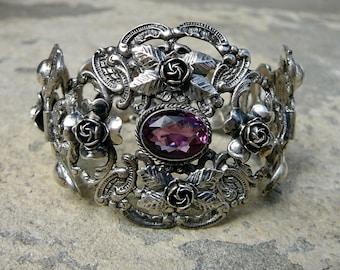 Peruzzi, Peruzzi Bracelet, Peruzzi Jewelry, Sterling Bracelet Italy, Cini, Art Deco Bracelet, Peruzzi Amethyst Bracelet, Amethyst Jewelry