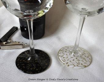 Night Music - Set of 2 Stylized Wineglasses