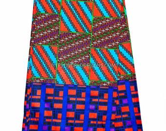 Kente print fabric/Kente fabric, Kente cloth /African fabric/ Ankara fabric / Kente Sash / Blue, pink block /sold by the yard  KF294B