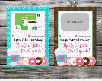 Instant Download, Printable Valentine's Day Gift Card Holder, Thanks a latte for all you do printable coffee gift card holder, teacher gift