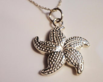 Fine silver starfish pendant necklace