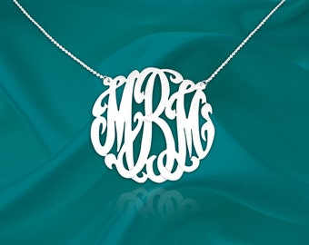 Monogram Initial Necklace - 1 inch Monogram necklace - Sterling silver - Handcrafted Designer - Monogrammed Necklace - Made in USA