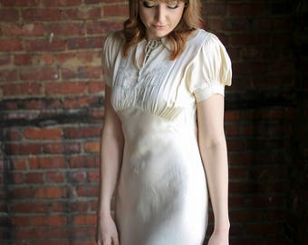 """1930s Gorgeous """"City of Paris"""" Silk Charmeuse Off White Gown with Hand Stitched French Seams"""