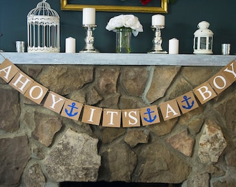"Nautical Baby Shower Decorations, ""Ahoy It's A Boy"" Banner, Anchor Baby Shower Decor, Boy Baby Shower, P064"