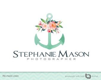 PreMade Photography Anchor Logo - WaterColor Logo - Watercolor Flowers - Photographer Logo - Photography Logo