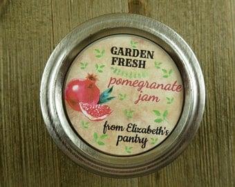 Mason Jar Canning Labels -  Vintage Pomegranite Design - Personalized Canning Sticker Labels  - 20 - 2 Inch Or 12-2.5'' Round Labels - vfc