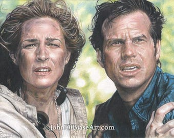 Colored Pencil Drawing Print of Helen Hunt and Bill Paxton from the movie TWISTER (8.5 x 11)