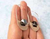 Sterling Silver hoop earrings -drop and dangle - contemporary jewelry -half moon -tribal earrings -hematite cube stones -geometric earrings